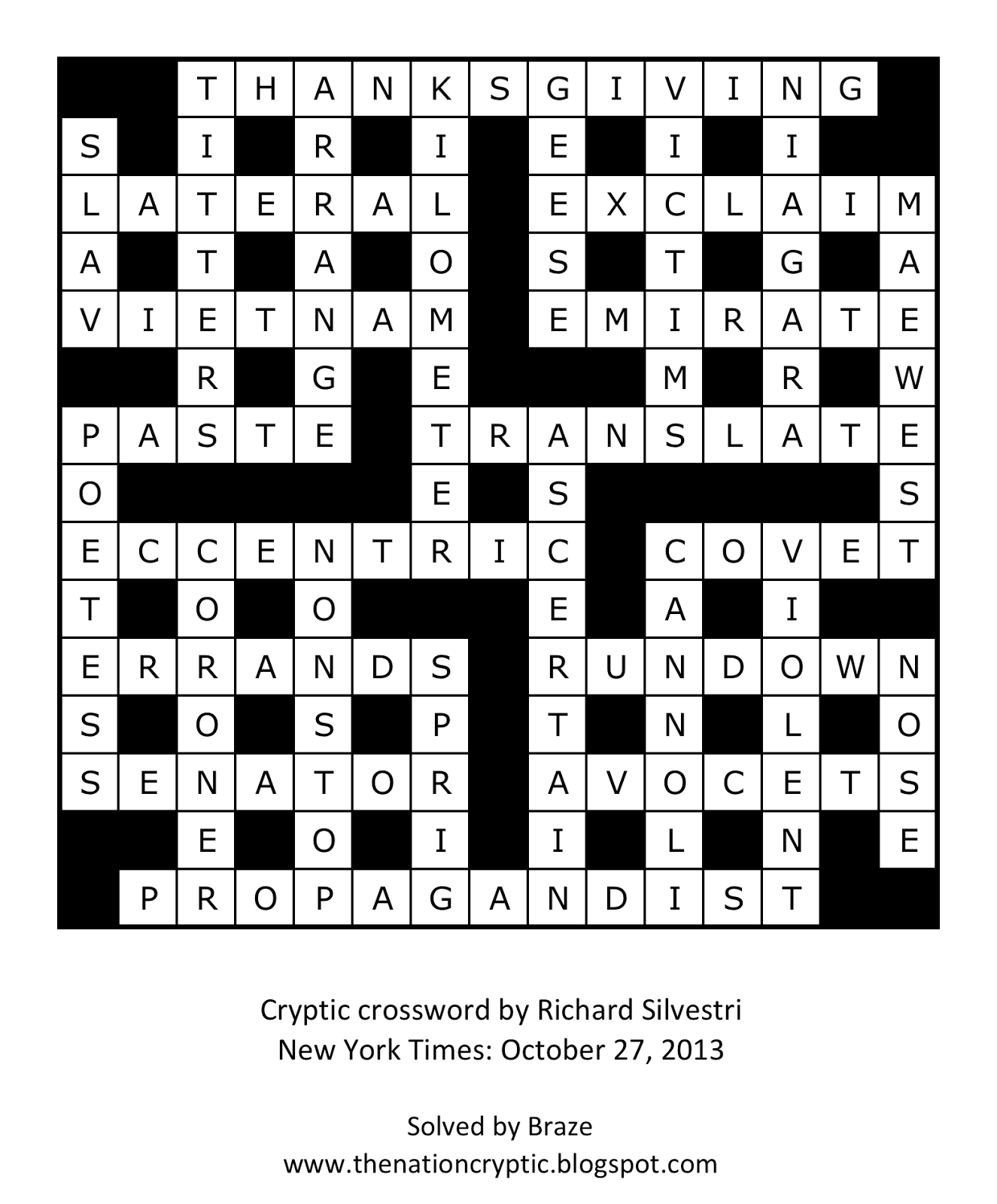The Nation Cryptic Crossword Forum: New York Times cryptic ...