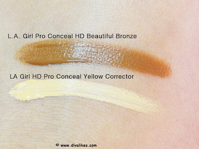 L.A. Girl Pro Conceal HD Beautiful Bronze and Yellow Corrector Swatch