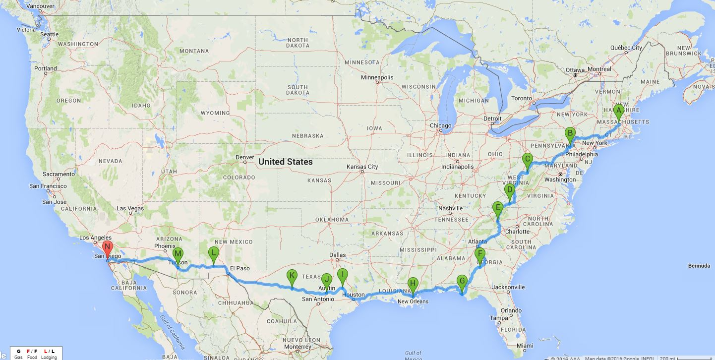 and here is our route from san diego back to ma