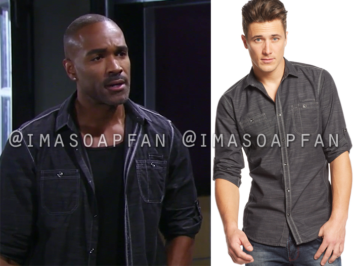 Curtis Ashford, Donnell Turner, Black Shirt with Contrast Stitching, General Hospital, GH