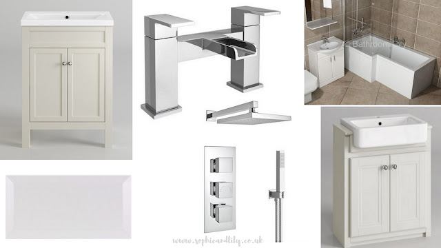 Ideal bathroom wishlist; sink vanity units, waterfall tap, white metro tile, butler sink, showerhead