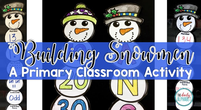 Building Snowmen allows students to complete a craft and to practice their literacy and numeracy skills.