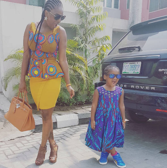 Annie Idibia and her daughter strike matching pose as they slay together