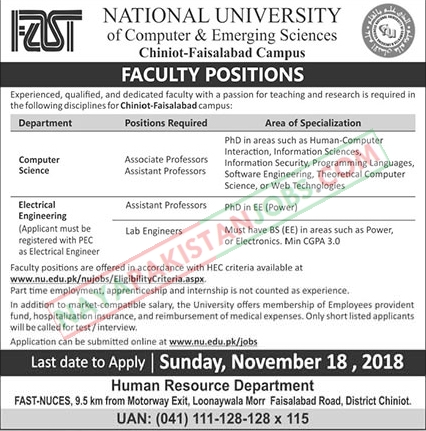 Latest Vacancies Announced in FAST National University National University Of Computer And Emerging Sciences 11 November 2018 - Naya Pakistan