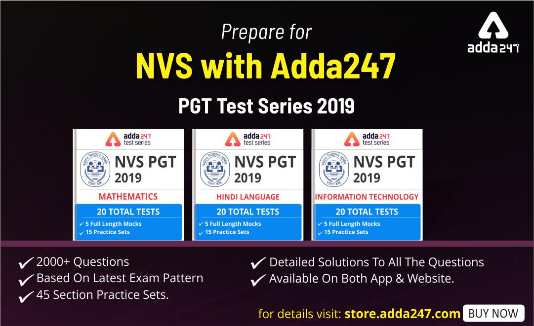 NVS PGT 2019 Online Test Series