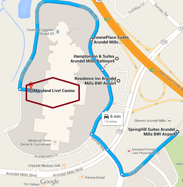Map of Arundel Mills Mall and the Suite Hotels of Arundel Mills