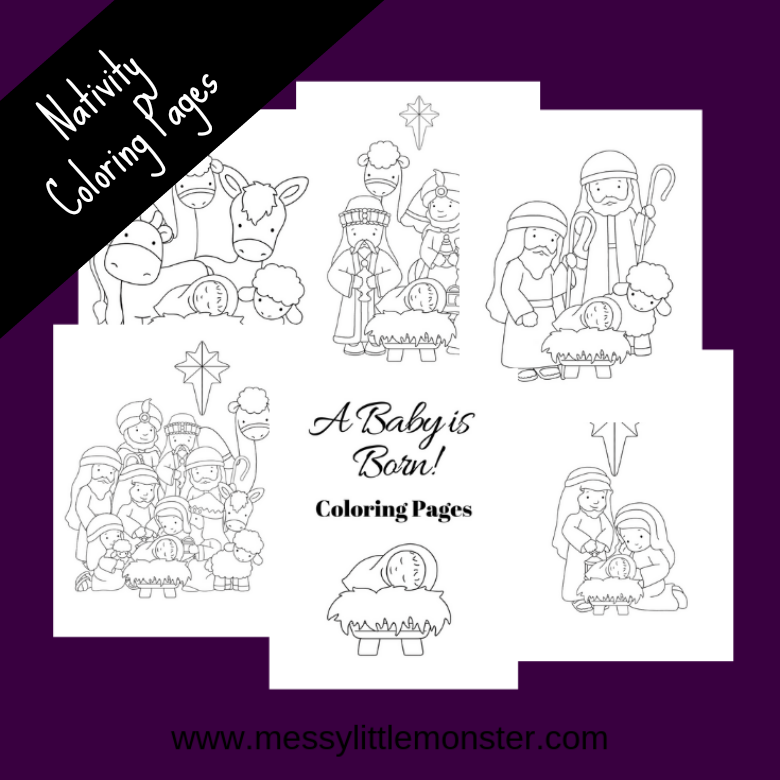 Nativity Coloring pages. Christmas colouring for kids.