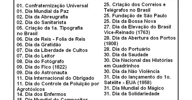 Blog Professor Zezinho Datas Comemorativas De Janeiro