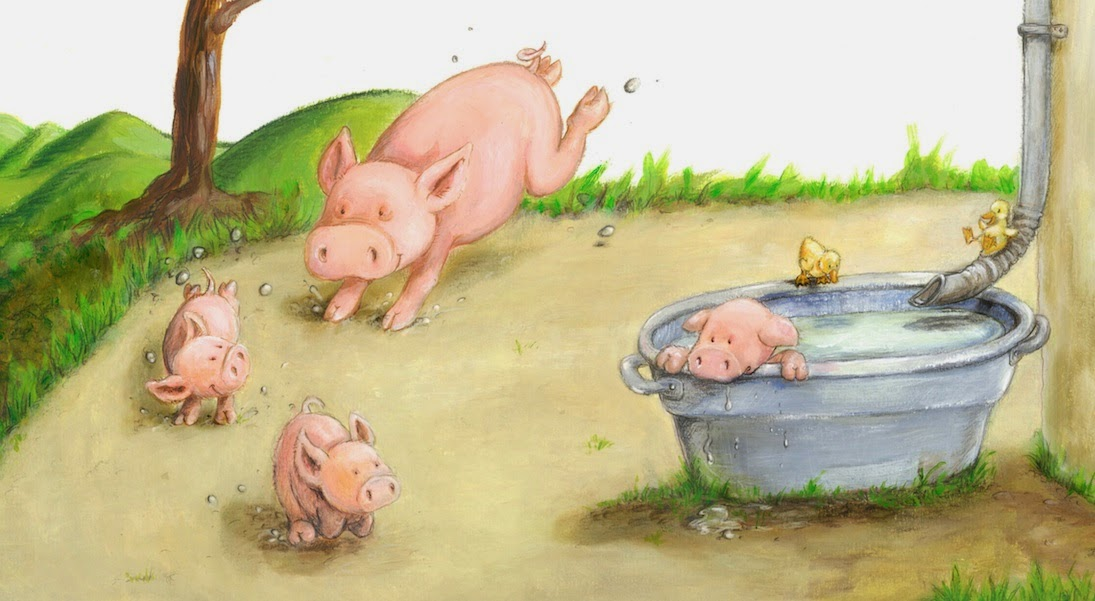 Kinderbuchillustration, Bauernhof, Ferkel, Schweinchen, children's book illustration, piglets, pigs, funny