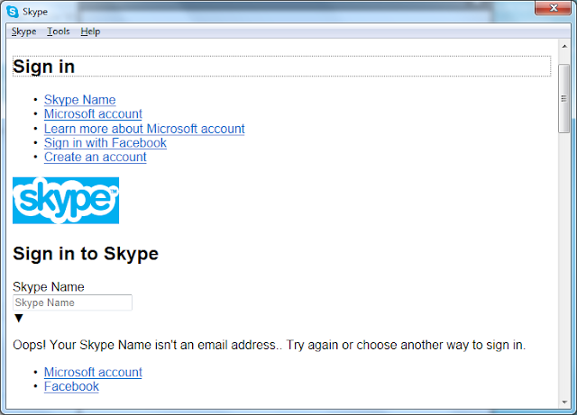 skype login screen