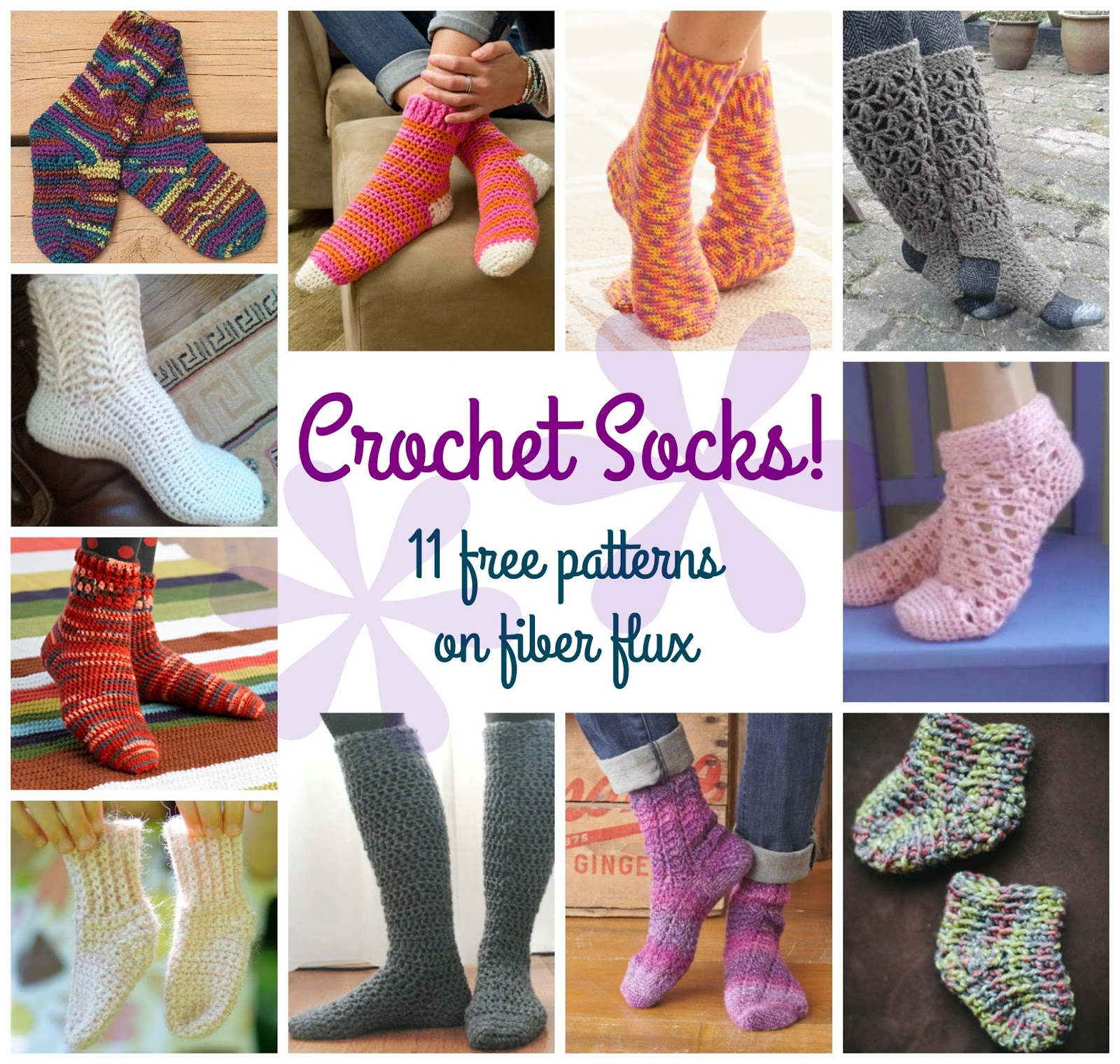 Fiber Flux: Comfy Crochet Socks! 11 Free Patterns...