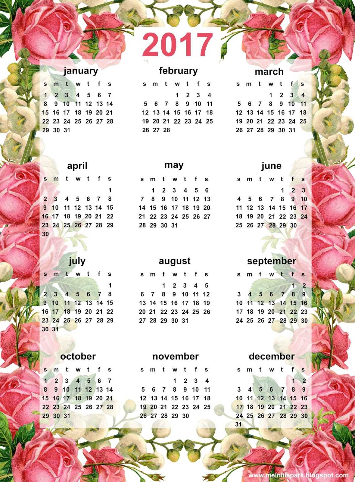 Free printable 2017 rose calendar - ausdruckbarer Kalender - freebie ...