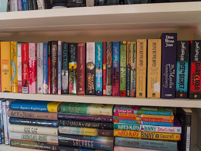 Shelf with books by Diana Wynne Jones, Frances Hardinge, Franny Billingsley, Margo Lanagan, Shannon Hale, Maggie Stiefvater, Rainbow Rowell