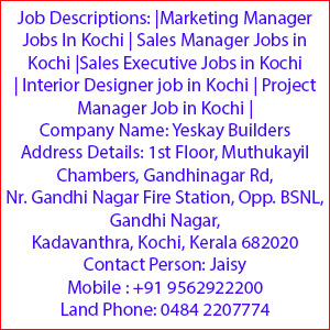 Marketing Manager Jobs In Kochi