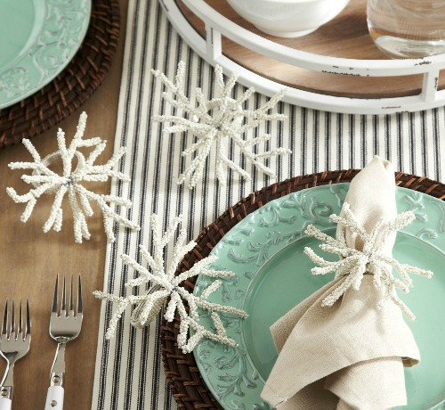 Coral Napkin Ring Holders in White & Blue