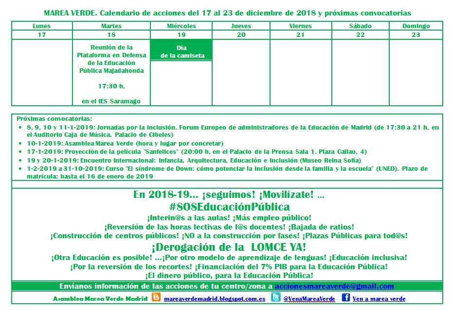 Calendario de acciones Marea Verde Madrid para la semana del 17 al 23 de  diciembre y próximas convocatorias 7152823042b53