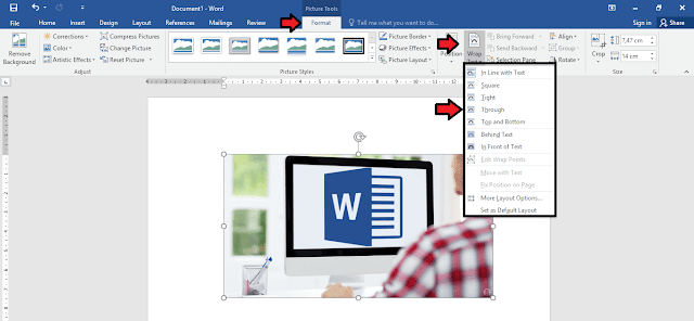 mengatur sifat (wrap text) teks pada gambar di microsoft word