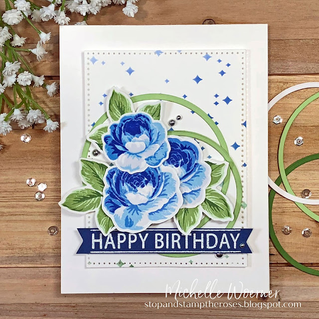 Sunny Studio Stamps: Everything's Rosy Birthday Customer Card by Michelle Woerner