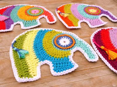 crochet applique elephants