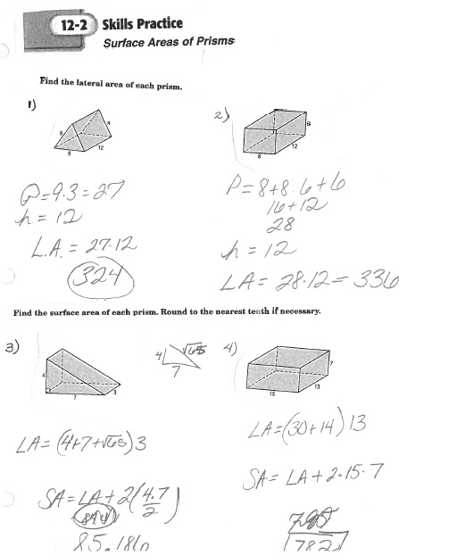 Math Classes Spring 2012: Geometry HW Quiz 12.2