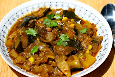 Slow Cooker Punjabi Eggplant with Potatoes from The Perfect Pantry featured on SlowCookerFromScratch.com