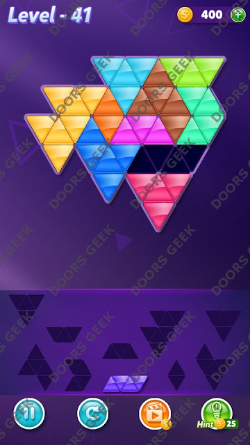 Block! Triangle Puzzle 10 Mania Level 41 Solution, Cheats, Walkthrough for Android, iPhone, iPad and iPod