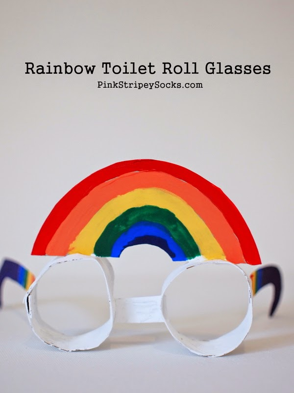 how to make rainbow toilet roll glasses