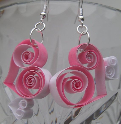 handmade heart shape quilling earrings - quillingearringsdesigns