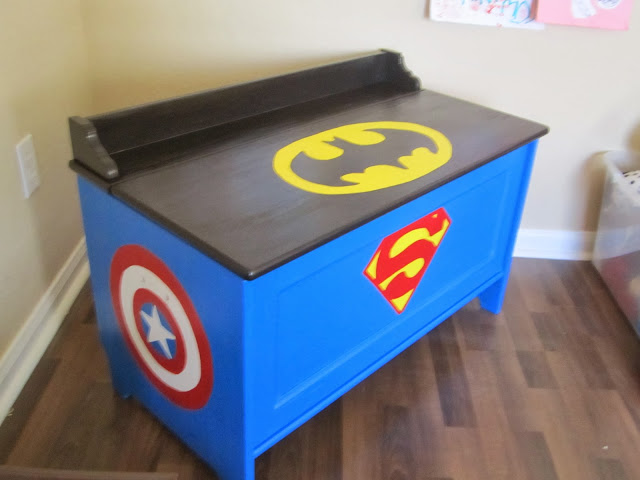 Wood Effect Kids Playroom Bedroom Storage Chest Trunk: When The Boys Sleep: SUPERHERO Toy Box