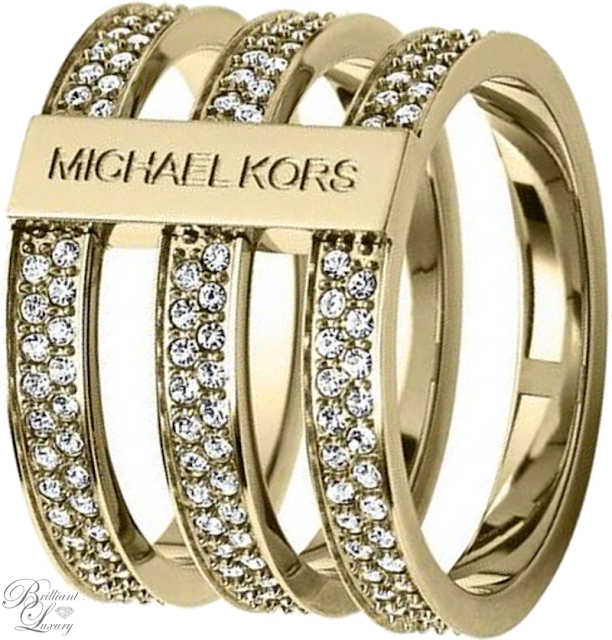 Brilliant Luxury ♦ Michael Kors Pavé-Embellished Gold-Tone Ring