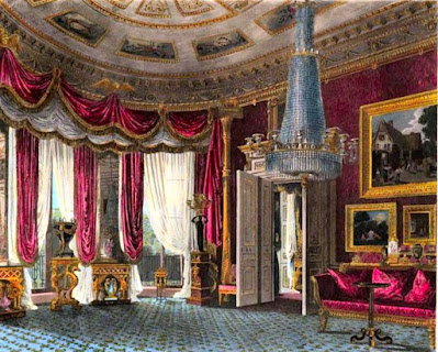 Rose-satin Drawing Room, Carlton House, from The History of the Royal Residences by WH Pyne (1819)