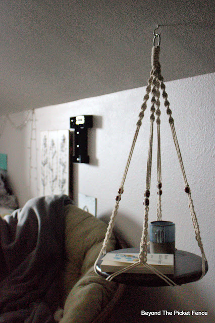 Make a Hanging Side Table from 2 Easy to Find Thrift Store Items