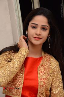 Telugu Actress Divya Nandini Stills in Orange Sleeveless Gown at Chennai Chaitrama Movie le Launch Event  0105.JPG