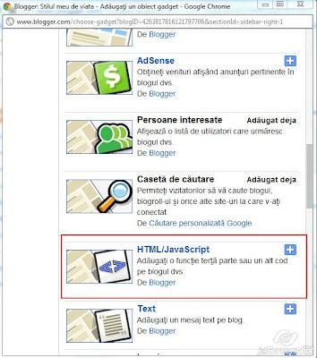 blogspot, adaugare HTML/Java Script