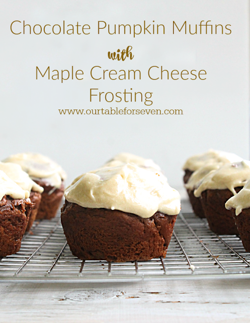 Chocolate Pumpkin Muffins with Maple Cream Cheese Frosting