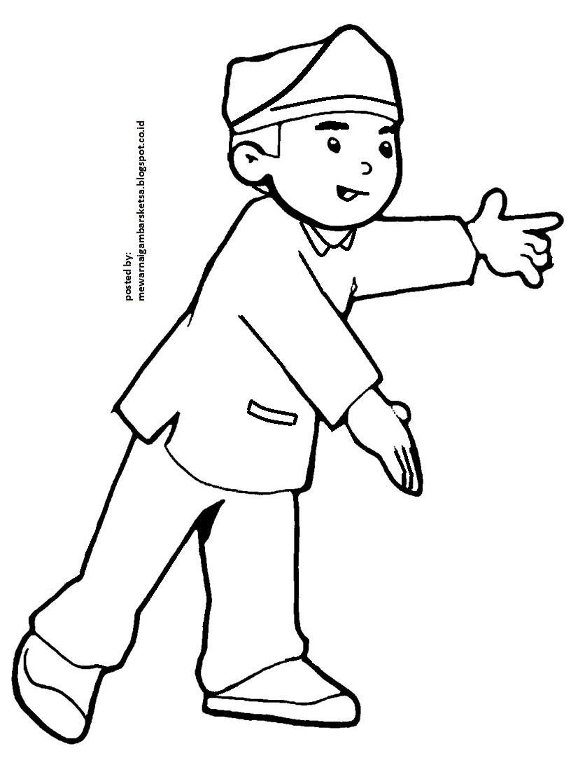 Mewarnai Gambar Mewarnai Gambar Sketsa Kartun Anak Muslim 22 Sedang