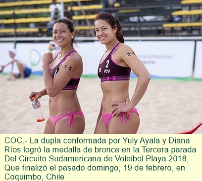 Bronce para Colombia, en Tercera Parada del Circuito Sudamericana de Voleibol Playa 2018