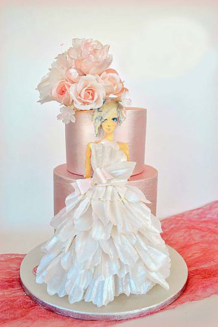 10 Stunning Wedding Dress Cakes For Your Bridal Shower