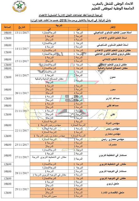 البرمجة الزمنية لعقد اجتماعات اللجان الادارية المتساوية الأعضاء بشأن الترقية في الدرجة بالاختيار برسم سنة 2016