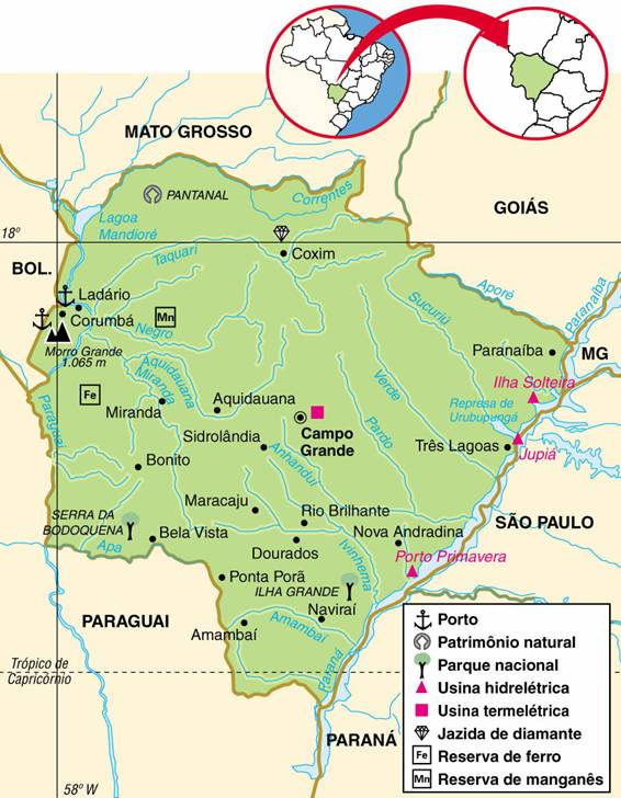 MATO GROSSO DO SUL, ASPECTOS GEOGRÁFICOS E SOCIOECONÔMICOS DO ESTADO DE MATO GROSSO DO SUL