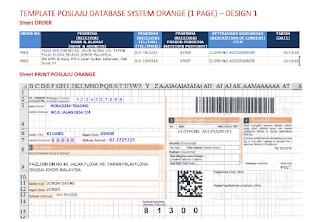 Template Poslaju Database System Orange (1 Page) - Design 1