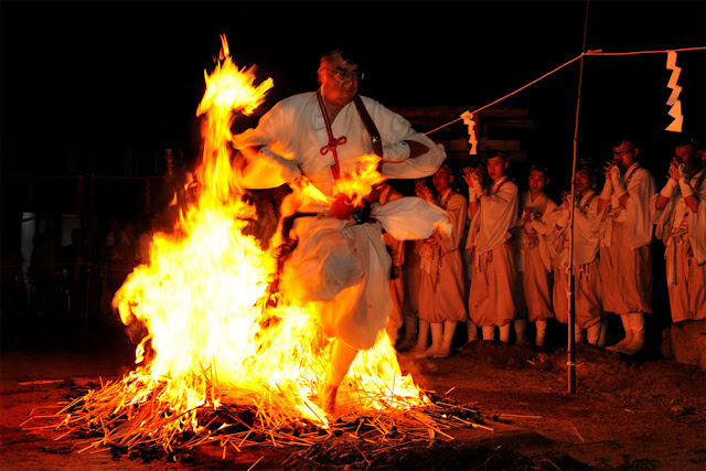 Hiwatari (fire walking) at Houkakuji Temple, Kurotaki Village, Nara