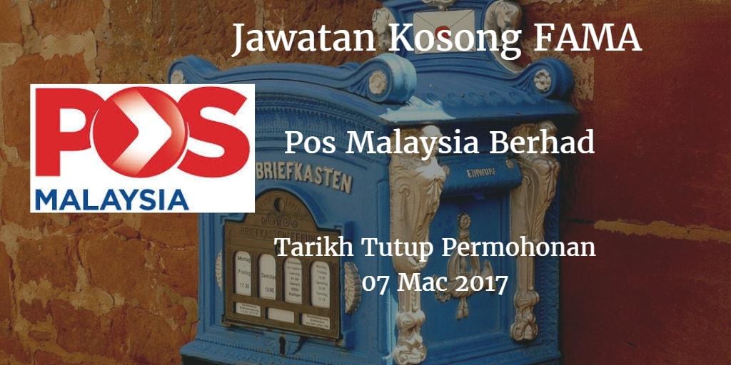 Jawatan Kosong Pos Malaysia Berhad 07 Mac 2017