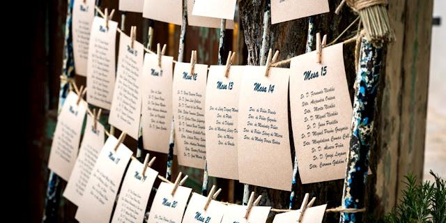 Lista invitados en mesa de bodas