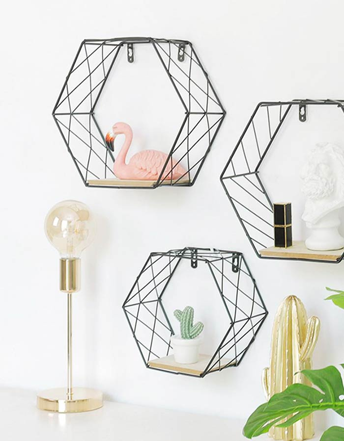 Nichos hexagonais metálicos em estilo nórdico