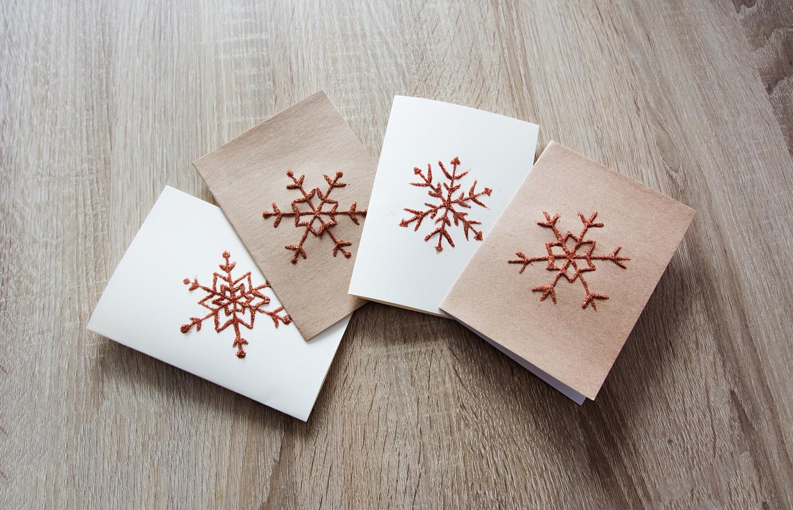 Minimalistyczne kartki hand-made w śnieżynki