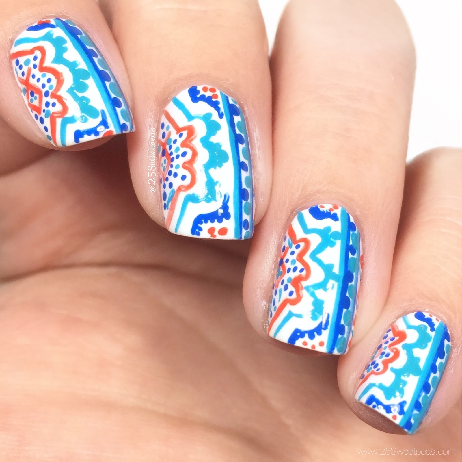Moroccan Tile Inspired Nails 25 Sweetpeas
