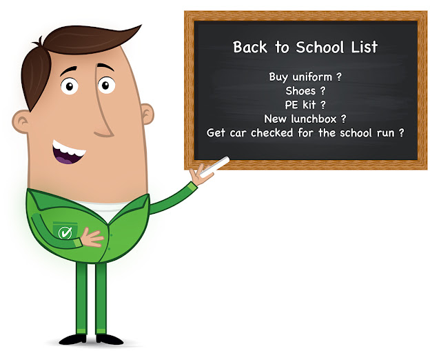 Miles Better, Good Garage Scheme, Back to School list on blackboard, get car checked for school run