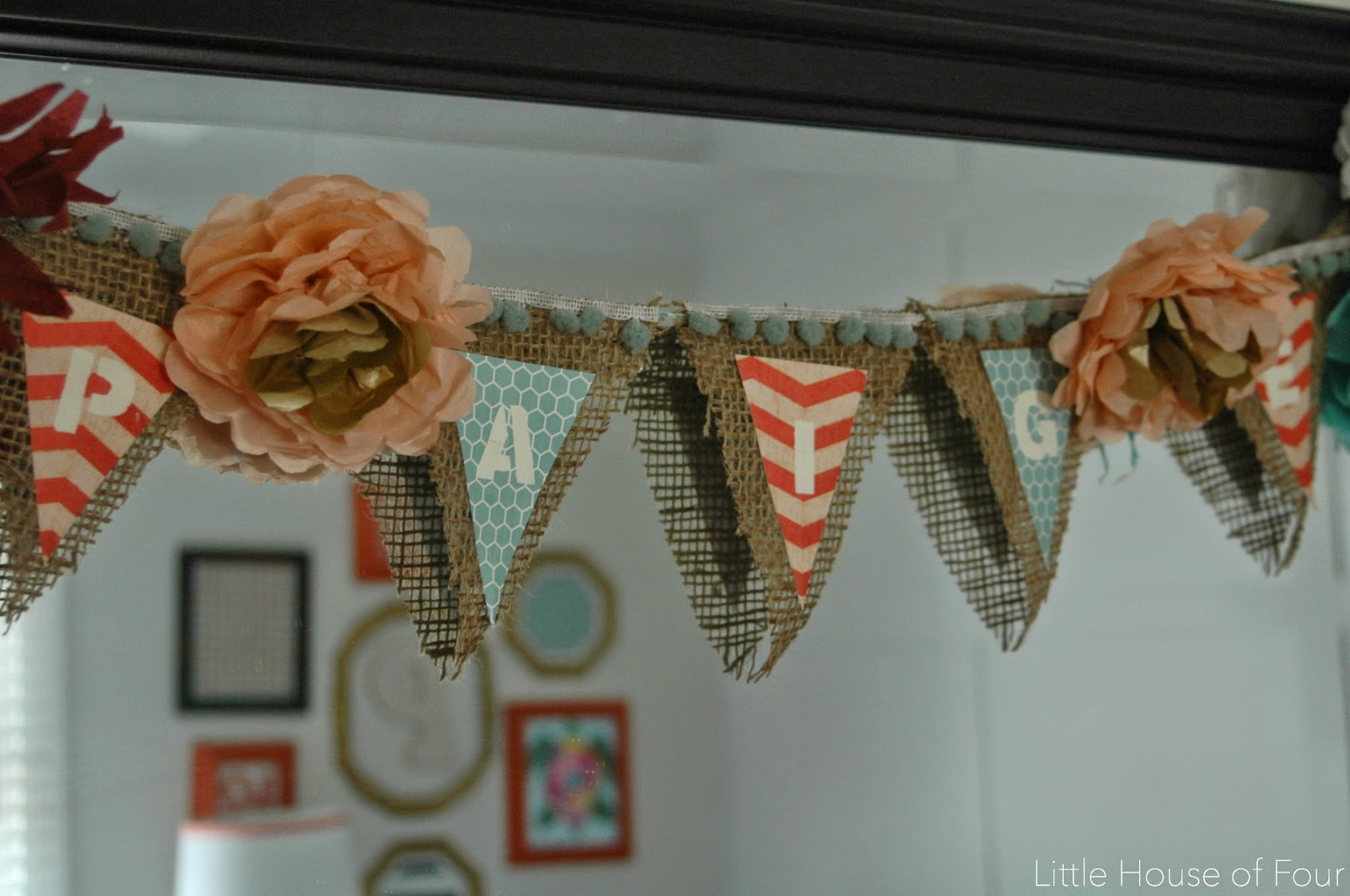burlap flower template - tissue paper flowers and burlap garland little house of