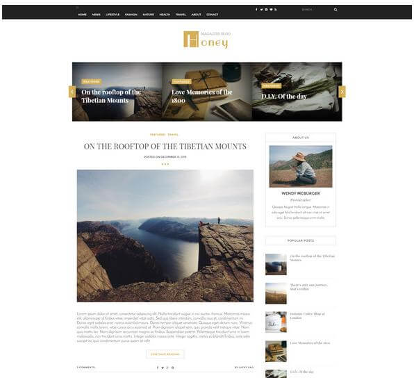 honey blogger blogspot template free